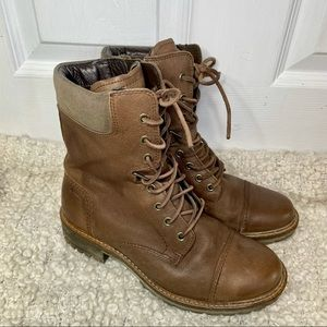 Ecco Hydromax Leather Lace Up Combat Boots 6.5
